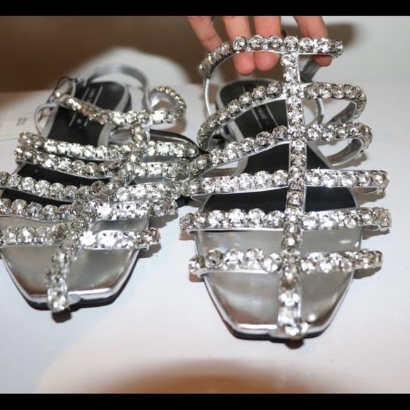Zara Rhinestone Sandals Brand New